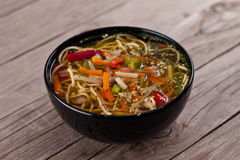 China soup with noodles and vegetables Royalty Free Stock Image