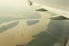 China Southern Airline flying over Mekong river delta, Vietnam Stock Photos