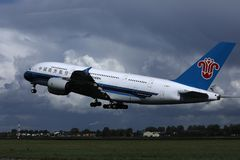 China Southern Airlines A380 jet took off from Schiphol Airport, AMS. China Southern Airlines took off from Schiphol Airport, AMS, Netherlands. Airbus A380 plane stock images