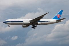 China Southern Cargo Boeing 777-200 B-2010 cargo plane landing at Frankfurt Airport royalty free stock photography