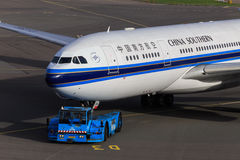 China Southern jet being towed Royalty Free Stock Photos