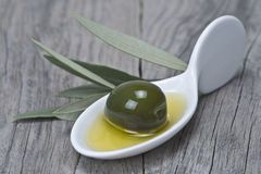 China spoon with one olive and oil Royalty Free Stock Photography