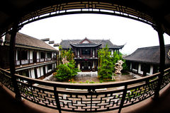 China State Construction. Fish-eye shot Exquisite Chinese-style courtyard building Royalty Free Stock Photos