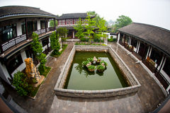 China State Construction. Fish-eye shot Exquisite Chinese-style courtyard building Stock Photos