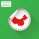 China sticker map icon. Business concept China label pictogram. Stock Image