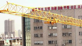 18.05.2019 Kunming, China- Crane at construction site in Chinese city stock footage