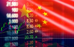 China stock market exchange / Shanghai stock market analysis forex indicator of changes graph royalty free stock image
