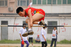 China: Student Track and Field Games /high jump Stock Image