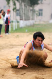 China: Student Track and Field Games / long jump royalty free stock image