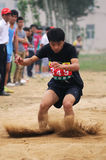 China: Student Track and Field Games / long jump royalty free stock photos