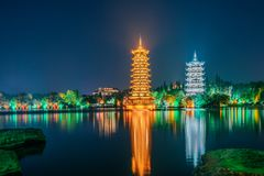 Guilin, Guangxi, China Sun Moon Twin Towers Park royalty free stock photos