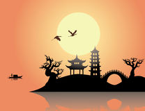 China sunset Stock Photo