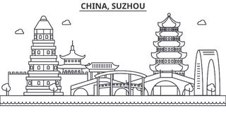 China, Suzhou architecture line skyline illustration. Linear vector cityscape with famous landmarks, city sights, design Stock Image
