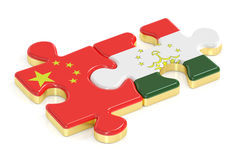 China and Tajikistan puzzles from flags, 3D rendering Stock Photos