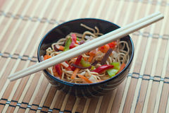 China tasty noodles with vegetables. Stock Image