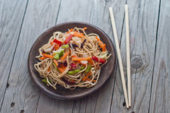 China tasty noodles with vegetables. Stock Photos