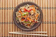 China tasty noodles with vegetables. Royalty Free Stock Photo