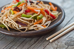 China tasty noodles with vegetables. Stock Photo