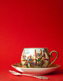 China tea. China porcelain tea cup on red Royalty Free Stock Images