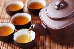 China tea. Set of China tea on bamboo mat,Closeup Stock Photography