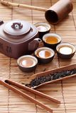 China tea. Set of China tea on bamboo mat Royalty Free Stock Images