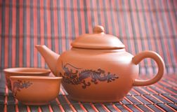 China tea. Cups and pot Royalty Free Stock Image