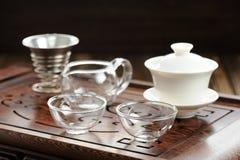 China tea ceremony with haiwan and glass teaware Stock Photo