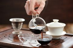 China tea ceremony with puerh tea brewing in haiwan. Horizontal Stock Image