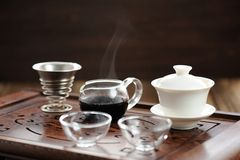 China tea ceremony with puerh tea brewing in haiwan Royalty Free Stock Image