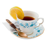 China tea cup with clipping path for easy extracti Stock Photos