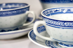 China Tea Cups. Blue and white china tea cups shot close up Stock Images