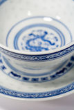 China Tea Cups. Blue and white china tea cups shot close up Stock Photo