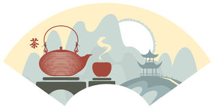 China tea. Mountain Chinese landscape with pagoda and teapot and cup. Hieroglyphs Tea Royalty Free Stock Photo