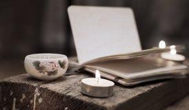 China tea, notebook, candles Stock Image