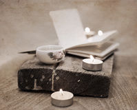 China tea, notebook, candles Stock Photography