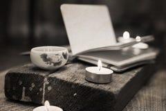 China tea, notebook, candles Royalty Free Stock Photo