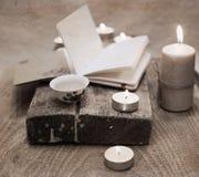 China tea, notebook, candles Royalty Free Stock Image