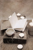 China tea, notebook, candles Stock Photos