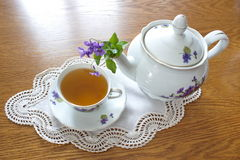China tea service with violets Royalty Free Stock Image