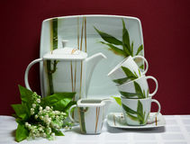 China tea-set with lily of the valley Royalty Free Stock Images