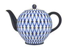 China teapot. Teapot with a pattern of blue net Stock Photos