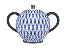 China teapot. Teapot with a pattern of blue net Stock Photo