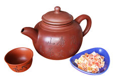 China teapot and sweets Royalty Free Stock Photography