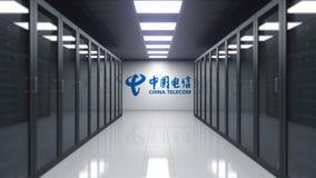 China Telecom logo na ścianie serweru pokój Redakcyjny 3D rendering Obrazy Royalty Free