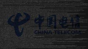 China Telecom logo robić źródło kod na ekranie komputerowym Redakcyjny 3D rendering Fotografia Stock