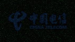China Telecom logo robić heksadecymalni symbole na ekranie komputerowym Redakcyjny 3D rendering Fotografia Stock