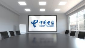 China Telecom logo on the screen in a meeting room. Editorial 3D rendering. China Telecom logo on the screen in a meeting room. Editorial 3D Stock Images