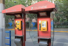 China telecom public phone. In Shanghai China Royalty Free Stock Image