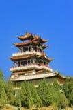China-Tempelpavillionen und -himmel Stockfoto