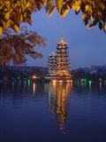 China temple. Chinese temple in guilin lake Royalty Free Stock Photo